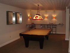 Small Basement Ideas Family Room Pool Table Sofa Wooden Side Tables - Pool table in small space