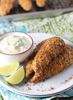 Tex-Mex Chicken Tenders with Garlicky Avocado Dipping Sauce Recipe - RecipeChart.com