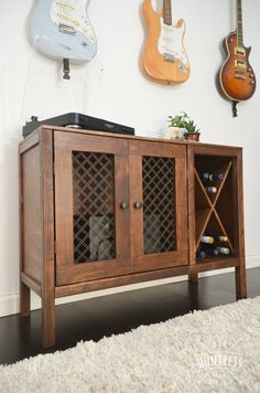Learn how to build a custom sideboard with wine storage for your dining room! This build can double as a record cabinet for your vinyl collection too! Diy Furniture Decor, Resin Furniture, Woodworking With Resin, Rockler Woodworking, Varathane Wood Stain, Jewelry Box Plans, Record Cabinet, Wine Storage, Panel Doors