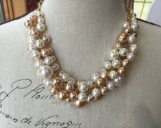 Godiva Earrings Ivory and Champagne Pearls on 14k Goldfill