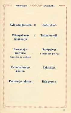 Tuoteluettelo, Helsinki 01.01.1920 - Pienpainatteet - Digitoidut aineistot - Kansalliskirjasto