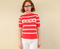 Nautical Sailboat Knit Top Red White Small by WearitWellvintage