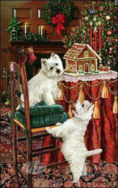 West Highland White Terrier Christmas Holiday Cards are 8 x 5 and come in packages of 12 cards. One design per package. All designs include envelopes, your personal message, and choice of greeting. Christmas Scenes, Christmas Animals, Christmas Cats, Christmas Pictures, Christmas Holidays, Highlands Terrier, West Highland Terrier, Westies, Terriers
