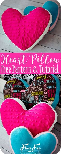 Heart pillow sewing tutorial with a free pattern and step by step video to make it easy. Love this #DIY idea.