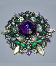 SIBYL DUNLOP 1889-1968 Arts & Crafts Brooch. Silver Amethyst Moonstone Chalcedony Opal. British, c.1925. #Dunlop #ArtsCrafts #brooch