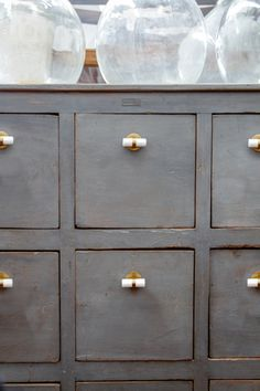 Changing Up Your Drawers & Cupboards Repurposed Furniture, New Furniture, Painted Furniture, Set Of Drawers, Small Drawers, Drawer Pulls And Knobs, Bathroom Cabinetry, Cabinet Door Handles, Paint Cans