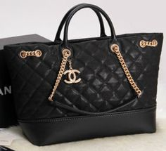 44d103c22e7b CN0017 Chanel Classic Two Handle Bag Black Oiginal Cannage Pattern A1237  Gold Chain Chanel Bags,