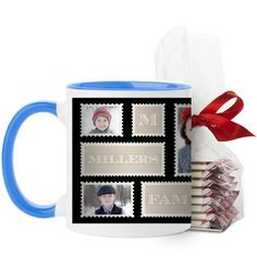 Love Family Stamps Mug, Light Blue, with Ghirardelli Peppermint Bark, 11 oz, Black