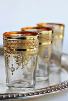 Moroccan tea glasses with gold rim & design