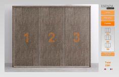 Este es el armario de 3 puertas correderas pues ahora las tenemos lisas y vamos a cambiarlas ya que en este catalogo hay muchos modelos diferentes de puertas donde poder escoger