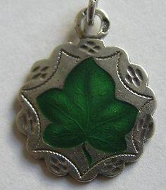 RARE Antique Art Nouveau German Silver Enamel Ivy Leaf Charm Eternal Love | eBay