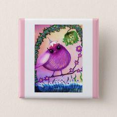 Bearmunk Birdie Square Button. Button - baby gifts child new born gift idea diy cyo special unique design