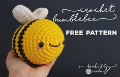 Hands up who needs cheering up! This happy little chub-bee (yep, the bee puns have started early) little fella could be the amigurumi ray of sunshine you have been looking for! He is un-BEE-lievably simple to make. Crochet Bee, Crochet Amigurumi Free Patterns, Crochet Animal Patterns, Crochet Patterns For Beginners, Stuffed Animal Patterns, Crochet Blanket Patterns, Cute Crochet, Crochet Crafts, Crochet Toys