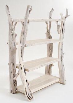 white washed driftwood shelves...