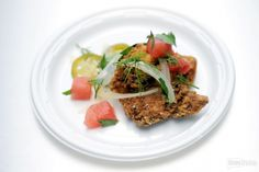 Doug Adams knows that watermelon and pickled flavors are actually an outstanding combo! The cheftestant created this delicious dish: Fried Chicken, Pickled Jalapenos, and Watermelon. Pickling Jalapenos, Chef Food, Chef Recipes, Food Festival, Tasty Dishes, Fried Chicken, Watermelon, Fries, Beef