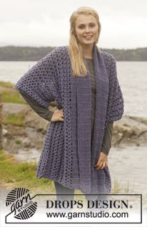"Waterfall - Crochet DROPS jacket with shawl collar in ""Merino Extra Fine"". Size: S - XXXL. - Free pattern by DROPS Design"