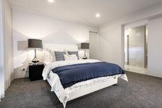 #bedroom #masterbedroom #mastersuite #whitewalls #navyandwhite