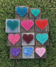 These adorable mini hearts make a sweet addition to a gallery wall, nursery or kids rooms, and make wonderful gifts! This listing is for a 5x5 board Fully customizable! Stain options are shown in the last picture, just be sure to include the color or stain you would like in the note to seller. We use high quality pine wood for all of our boards, and due to the beautiful grains in the wood the stains may appear slightly different in person. Sawtooth hangers will be included for easy hanging…