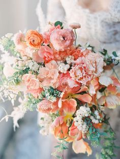stunning coral and white and green summer spring wedding bouquet Spring Wedding Flowers, Bridal Flowers, Flower Bouquet Wedding, Floral Wedding, Peach Wedding Colors, Peach Wedding Decor, Colourful Wedding Flowers, Fall Wedding, Bridal Bouquet Coral