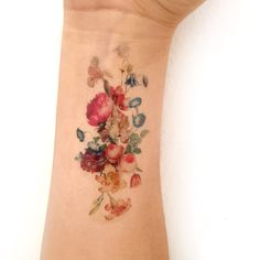 Vintage floral temporary tattoo. Fresh bouquet of by intheyear1967