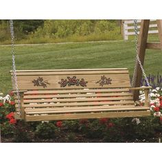 Amish Pine Rollback Porch Swing with Rose Design ($240) ❤ liked on Polyvore featuring home, outdoors, patio furniture, hammocks & swings, outdoor swing, outdoor patio swing, garden swing, outdoor porch swing and outside swings