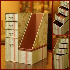Ideas que mejoran tu vida Diy Cardboard Furniture, Cardboard Paper, Cardboard Crafts, Paper Crafts, Recycled Crafts, Diy And Crafts, Homemade Anniversary Gifts, Diy Storage Boxes, Craft Box
