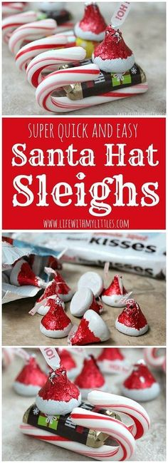 These easy candy Santa Hat Sleighs are perfect for neighbor gifts, teachers, or anyone! And they are so easy that little kids can help! What a simple DIY Christmas craft for kids! diy and crafts ideas Christmas Candy Crafts, Christmas Goodies, Homemade Christmas, Christmas Treats, Christmas Projects, Holiday Crafts, Christmas Holidays, Christmas Carol, Christmas Cactus
