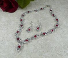 Woven Necklace and Earrings Silver and Red by IndulgedGirl on Etsy