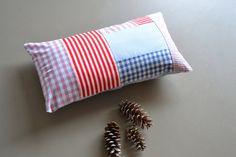 blue red and white  lumbar pillow  cushion by xxxRedStitcHxxx, €20.00