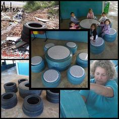 Oh yeah! Put two tires together and top with a larger piece of plywood. Then make tire seats or crate seats to go around it. That way kids dont lean too far forward. Keep top removable and you can store science kits and book sets inside! Tire Seats, Tire Chairs, Crate Seats, Tyres Recycle, Reuse Recycle, Recycled Tires, Outdoor Projects, Diy Projects, Tire Table
