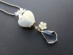swarovski ketting met pendant verzilverd kristal en keramiek hart