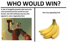 WHO WOULD WIN? A clan of vengeful assassins who serve the most powerful evil the world has ever known, and will ruthlessly slay any who oppose it, even a legendary hero One very appealing fruit --- bananas, BotW, Legend of Zelda The Legend Of Zelda, Legend Of Zelda Memes, Legend Of Zelda Breath, Yiga Clan, Winning Meme, Botw Zelda, Twilight Princess, Princess Zelda, Link Zelda