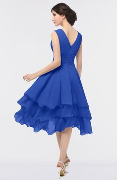 Elegant V-neck Sleeveless Zip up Ruching Bridesmaid Dresses