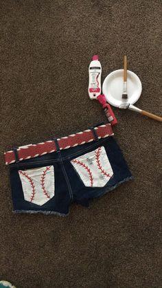 DIY baseball pocket shorts But make them yellow if course for softball. Baseball Shorts, Softball Shirts, Girls Softball, Softball Stuff, Baseball Stuff, Baseball Quotes, Baseball Mom Shirts Ideas, Elite Softball, Baseball Outfits