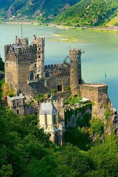 Rudesheim am Rhein, Rheinstein castle on the Rhein River, Germany (© Jim Zuckerman).