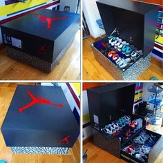 Nike & Air Jordan Slide Out Wooden Sneaker Box Storage by Designer Woodist Punk