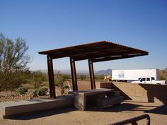 cantilevered steel canopy