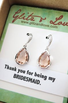 Champagne Glass Teardrop Earrings, Cubic Zirconia Crystal Jewelry, gifts for her, Bridal weddings, Bridesmaid Earrings, Silver, www.glitzandlove.com