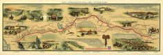 April On this date in the first Pony Express mails left St. Joseph, Missouri, and Sacramento, California simultaneously. An illustrated map of the route made by William Henry Jackson is featured. Henry Jackson, Pictorial Maps, Pony Express, Tourism Poster, Travel Posters, Today In History, Le Far West, Travel And Tourism, Old West