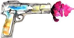 Flower in gun watercolor