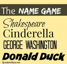 Play the Name Game -- fun for Christmas or New Year's Eve parties -- or ANY get together with friends or family.     GrandmaIdeas.com