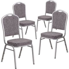 Flash Furniture Hercules Series Crown Back Stacking Banquet Chair With  Fabric And 2.5 Inch Thick Seat   Silver Frame (Set Of 4) (Silver), Black