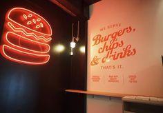 Mr Burger Settles into the City, 428 Little Bourke St (Mon-Wed til Thu & Fri til Mr Veg burger Brunswick Street, Melbourne Restaurants, Food Truck, Chips, Food And Drink, Just For You, Neon Signs, Eat, Potato Chip