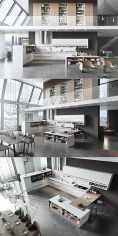 moderno elegante cocina apartamento grande amplio ideas