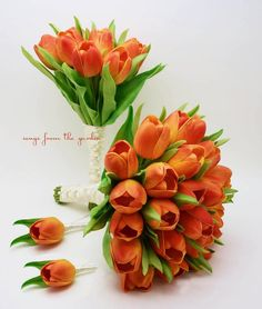 Fall Wedding - Real Touch Orange Tulips Bridal Bouquet, Bridesmaid Bouquet Flower Package