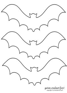 3 bat stencils coloring page - Print. 3 bat stencils coloring page - Print. Halloween Stencils, Halloween Templates, Halloween Prints, Halloween Art, Holidays Halloween, Halloween Bat Decorations, Easy Halloween Crafts, Outdoor Halloween, Bat Coloring Pages