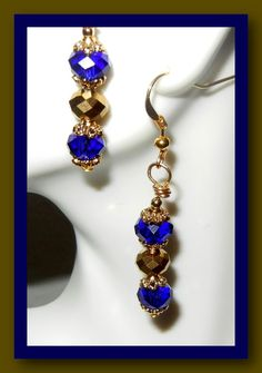 Blue and Gold Earrings by MaryMDesign on Etsy, $10.00