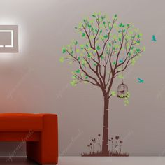 Wall Art - Tree with flying birds- Vinyl Wall Decals, Stickers, Wall Murals. $55.00, via Etsy.