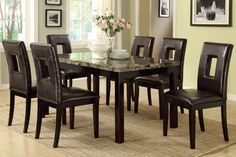 7 Pc Marble Look Dining Set