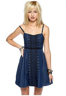 Free People Mount Saint Helen Embroidered Denim Dress
